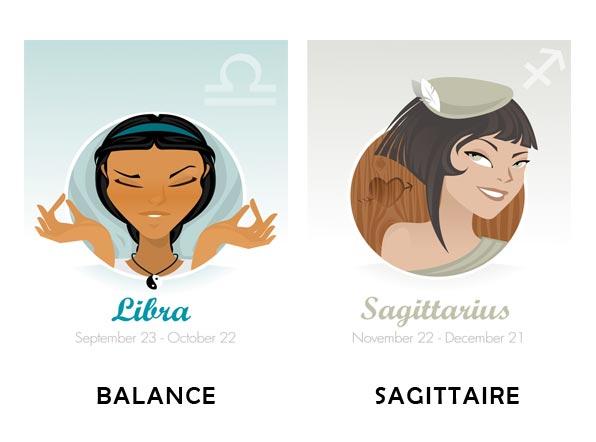 Compatibilité amoureuse entre Balance et Sagittaire
